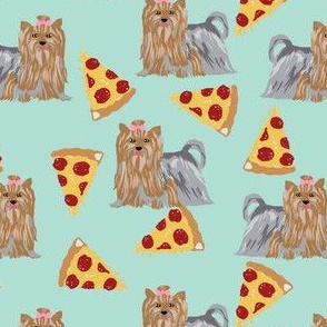 yorkie dog mint pizza fabrics cute dog fabric best yorkshire terriers fabric cute dogs fabric pizza mint fabrics cute dog fabric