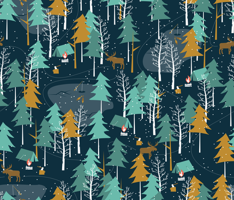 Winter Camping - Large Scale fabric by papercanoefabricshop on Spoonflower - custom fabric