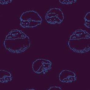 hedgehog polka Blue on Purple
