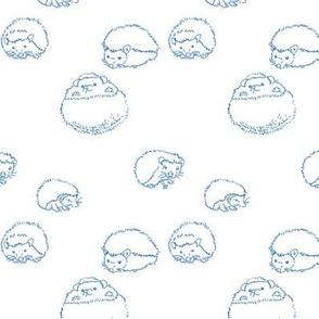 hedgehog polka blue on white 2