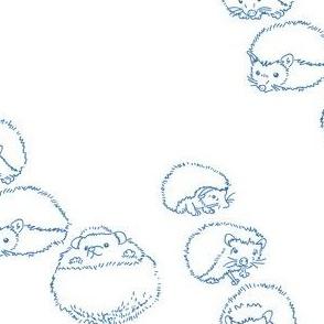hedgehog blue on white