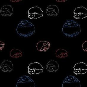 hedgehog polka Multi on black