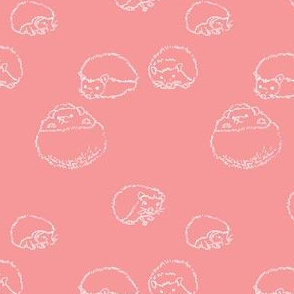 hedgehog polka white on pink