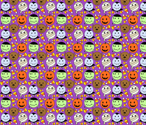 Candy_corn_monsters_purple_2 fabric by leroyj on Spoonflower - custom fabric