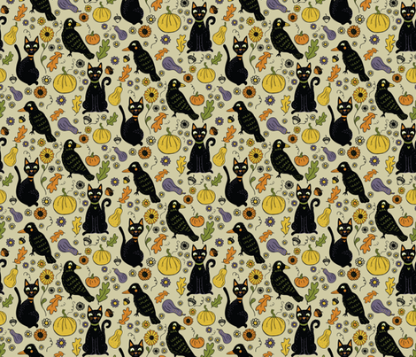 Black Cats and Ravens with Fall Leaves and Pumpkins fabric by jacquelinehurd on Spoonflower - custom fabric