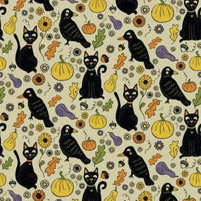 Black Cats and Ravens with Fall Leaves and Pumpkins