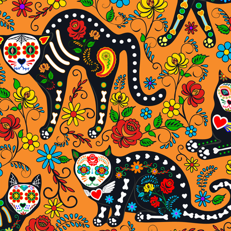 Calavera cats fabric by svetlana_prikhnenko on Spoonflower - custom fabric