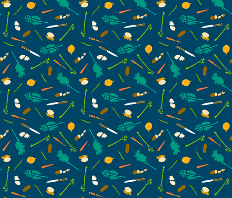 Chopping Vegetables fabric by 13sparrows on Spoonflower - custom fabric