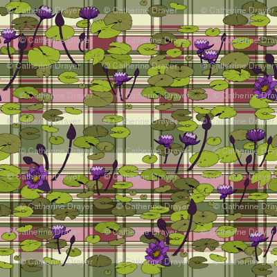 Lily pads in lime on pink and green plaid