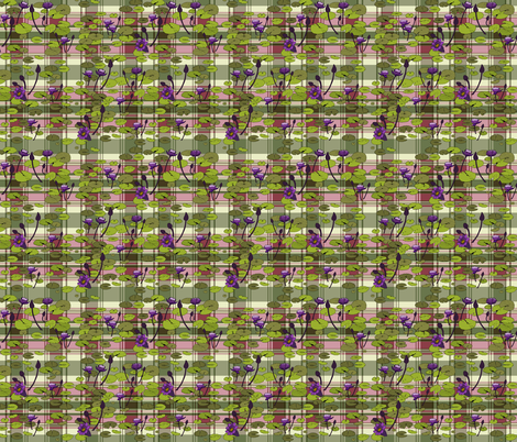 Lily pads in lime on pink and green plaid fabric by coppercatkin on Spoonflower - custom fabric