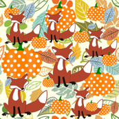 The Fall fox & pumpkins