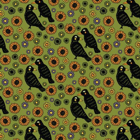 Ravens and Sunflowers, Harvest Design fabric by jacquelinehurd on Spoonflower - custom fabric