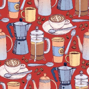 Coffee Love - Painted Illustration Pattern on Red