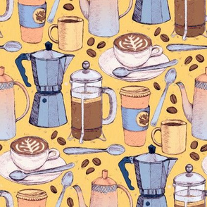 Coffee Love - Painted Illustration Pattern on Yellow