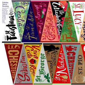 Catholic Saints bunting mini banners small pennants