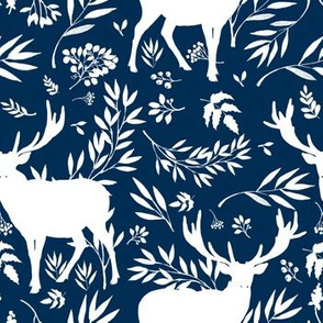 Deer Silhouette in Dark Blue