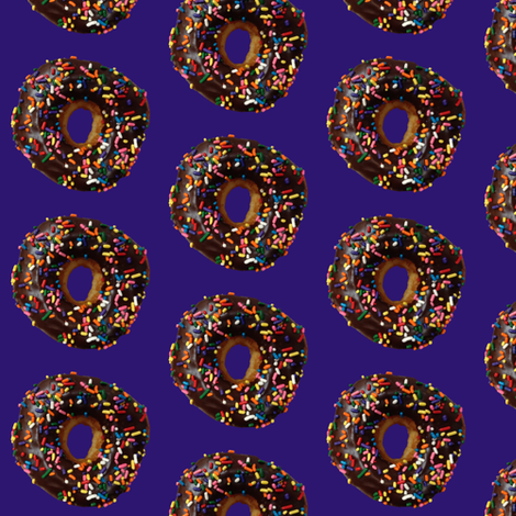 Chocolate Doughnut on Purple fabric by sammichsewing on Spoonflower - custom fabric