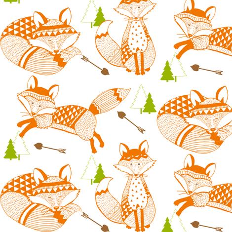 TK-Geo_Tribal Baby_Foxes_Love_Arrows_Orange_Green_Brown_BOY fabric by doodledoer-teresakelly on Spoonflower - custom fabric