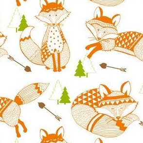 TK-Geo_Tribal Baby_Foxes_Love_Arrows_Orange_Green_Brown_BOY