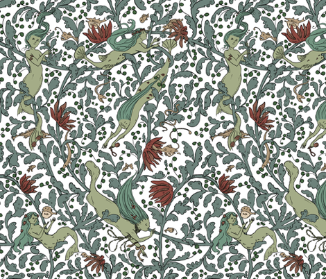 Deep Diving - white background fabric by tanaudel on Spoonflower - custom fabric
