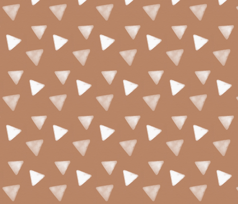 Watercolor triangles - white on peach geometric || by sunny afternoon fabric by sunny_afternoon on Spoonflower - custom fabric