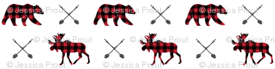 micro print || moose, bear, and arrows - the happy camper collection