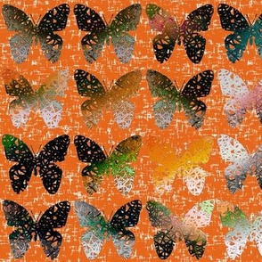 (NOW LARGER) Dark + stark butterflies on hot wind-whipped orange by Su_G