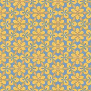 Yellow & Blue Floral Geometric
