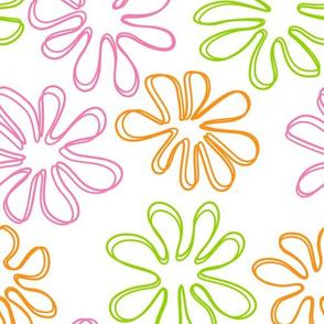 Gerberas Bright Trio - Big Floral Outlines
