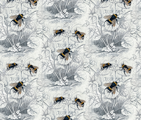 Humble Bee Honey Bee Floral Flowers fabric by magnoliacollection on Spoonflower - custom fabric