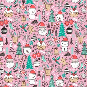 Xmas Christmas Winter Doodle with Snowman, Santa, Deer, Snowflakes, Trees, Mittens on Pink Tiny Small