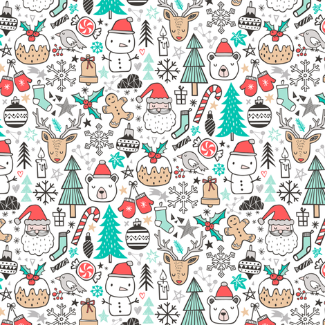 Xmas Christmas Holiday Winter Doodle with Snowman, Santa, Deer, Snowflakes, Trees, Mittens Tiny Small fabric by caja_design on Spoonflower - custom fabric