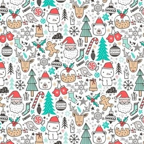 Xmas Christmas Holiday Winter Doodle with Snowman, Santa, Deer, Snowflakes, Trees, Mittens Tiny Small