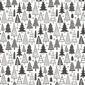 Christmas Forest Trees Black White Tiny Small