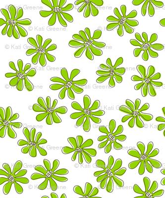 Gerberas Bright Trio - Small Florals in Lime Green