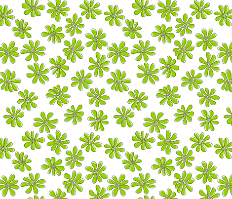 Gerberas Bright Trio - Small Florals in Lime Green fabric by sharks_and_bunnies on Spoonflower - custom fabric