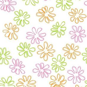 Gerberas Bright Trio - Small Floral Outlines