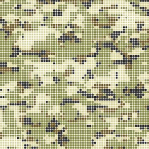 Dots Dotted Pixel Fall Woodland Camo Camouflage