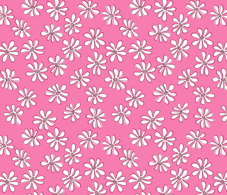 Gerberas Bright Trio - Small Florals in White fabric by sharks_and_bunnies on Spoonflower - custom fabric