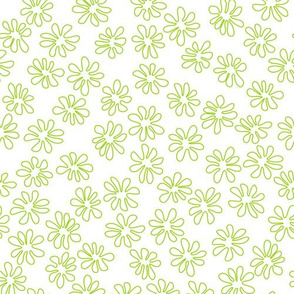 Gerberas Bright Trio - Tiny Floral Outlines in Lime Green