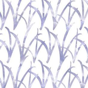 watercolor blue grasses white