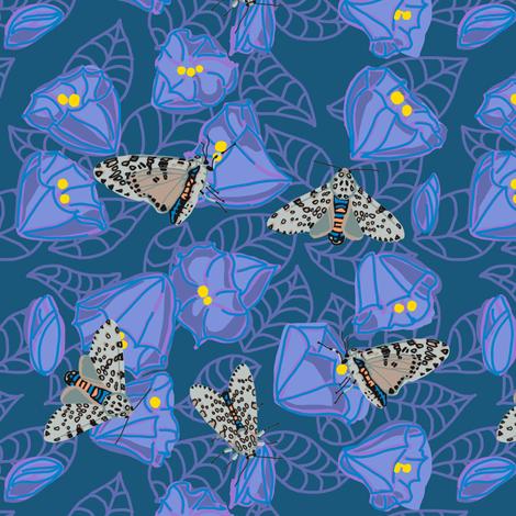 leopard moth in moonflowers [peri] fabric by kheckart on Spoonflower - custom fabric