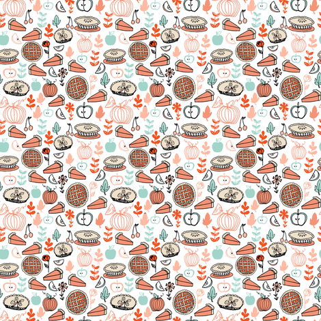 pies // baking food pies kitchen pumpkin autumn fall leaves holiday thanksgiving fabric by andrea_lauren on Spoonflower - custom fabric