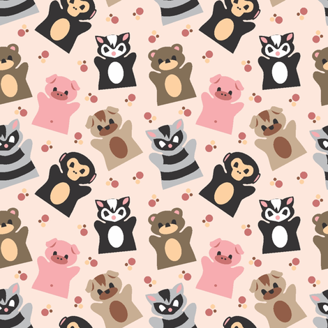 Puppet Parade MAIN PINK fabric by jewelraider on Spoonflower - custom fabric
