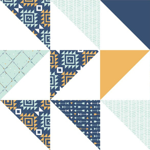Cheater Quilt - Navy and Gold