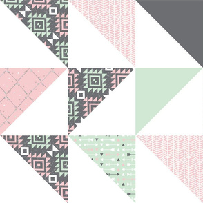 Cheater Quilt - Mint and Blossom