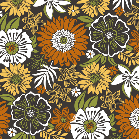 Fall Autumn  Floral Flowers  fabric by caja_design on Spoonflower - custom fabric