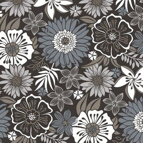 Fall Floral Flowers Grey