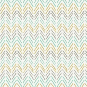 Pencil Herringbone - Teal & Gold