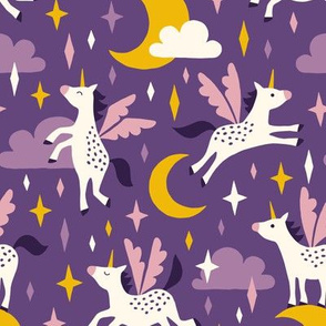 Unicorns in the sky in purple